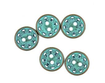 Metal Buttons - Floret Border Metal Buttons , Retro Cyan Color , 2 Holes , 0.43 inch , 10 pcs