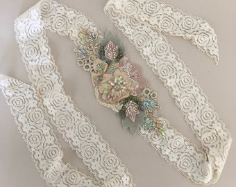Nude/Sage beaded headband