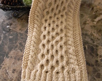 Gorgeous cable knit men's scarf, hand knitted wool blend scarf for men