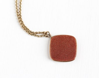 Sale - Antique Edwardian Goldstone Fob Pendant Necklace - Vintage Double Sided 14k Gold Filled Sparkly Brown Aventurine Glass Stone Jewelry