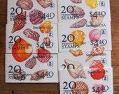 Seashells 140 Vintage UNused US Postage Stamps 7 booklets 22c Invertebrate Biology Malacology EFO Error Scallop Dogwinkle Whelk Philately