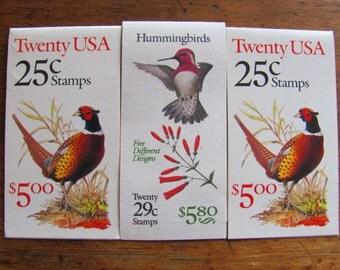 Birdwatcher 60 UNused Vintage Birds US Postage Stamps 3 booklets 25c 29c Hummingbirds Pheasant Valentine's Save the Date Wedding Postage