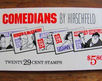 Comedians 20 UNused Vintage US Postage Stamps Booklet 29c Al Hirschfeld Cartoons Illustration Line Drawing Ink Save the Date Wedding Postage