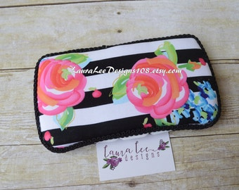 Flowers on Horizontal Black and White Stripes Travel Baby Wipe Case, Personalized Baby Wipe Holder, Girl Baby Shower Gift, Diaper Bag Clutch