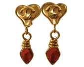 CHANEL Gripoix Heart Drop Earrings