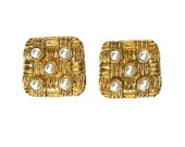 CHANEL Rare Tweed Design and Faux Pearl Square Earrings