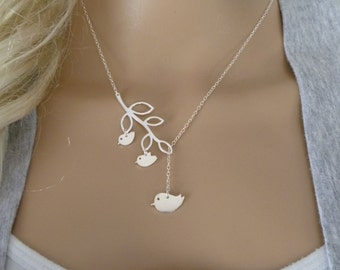 Mother Bird Necklace - Mom and Two Baby Bird Necklace - Single Mom and Child Necklace - Mommy Necklace - Branch Lariat Necklace - femmart
