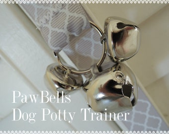 Grey Quatrefoil Dog Training Bells, Paw Bells, Dog Potty Trainer, Instructions included