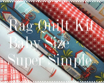 Offshore, Kit 4 Rag Quilt Kit, Easy to Make, Offshore Tropical Fabrics, Personalized