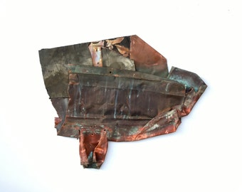 Vintage Copper Architectural Salvage / Architecture Scrap Art / Heavy Copper Patina / Wall Art / Wall Hanging / Distressed Weathered Copper