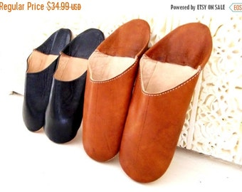 Summer Sale 20% off Tan Babouche Leather Slipper for Him & Her-perfect as birthdays gifts,lounge shoewear, for any occassion