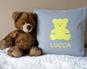 Personalized  Unisex Baby Pillow - Modern New Born Cushion - Modern 16 x 16 Baby Pillow - Teddybear Pillow -  Baby Boy or Girl Pillow