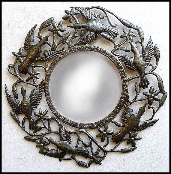 Wall Art Mirror Birds : Metal mirror wall hanging bird design mirrors