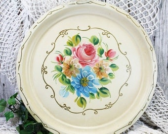 Round Tolle Metal Tray, Floral Tray, Blue and Pink Floral Tray, Vintage