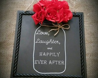 Rustic mason jar home decor sign