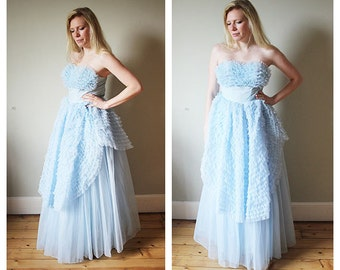 A fab 1950's powder blue tulle prom dress