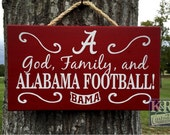 "Reserved for Alice - Alabama Sign ""God, Family and Alabama Football"" Crimson Tide painted wood sign decor art wall hanging"