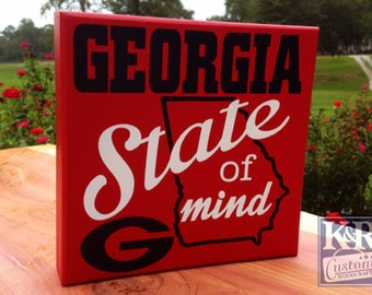 Georgia GA Bulldogs UGA Sign painted Block 'state of mind' GA