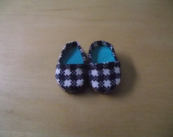 Black and White plaid slip on flats shoes for Pullip / obitsu