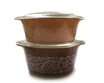Vintage Pyrex 4 Piece Woodland Bake & Store Casserole Bowls and Lids