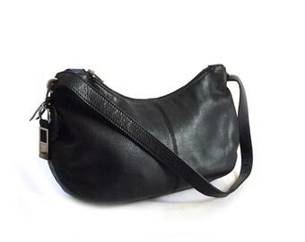Rolfs Black Leather Shoulder Bag Purse