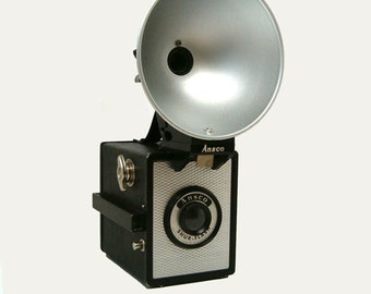ANSCO Shur Flash 120 Box Camera and Flash