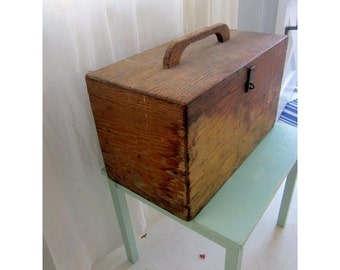 vintage antique Primitive distressed steampunk old wood wooden tool box chest file storage TRUNK TABLE CRATE Storage