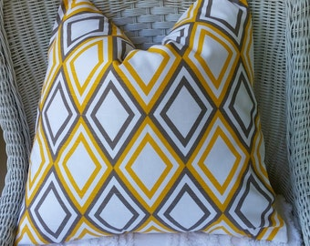 NEW  TWO  18 x 18  Annie Yellow and Brown  Pillow  Covers