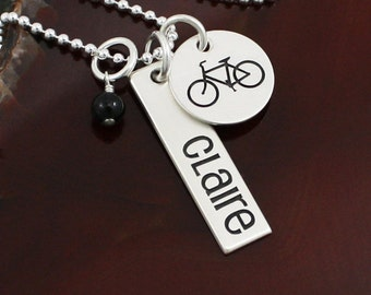 The Bicycle Necklace -  Biking / Bike - Sterling Silver