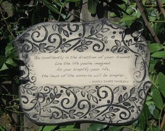Inspirational Henry David Thoreau Quote Ceramic Plaque - Green