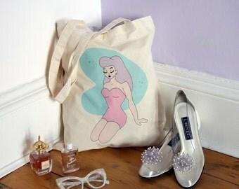 Atomic Vintage Pin Up Girl Tote Bag