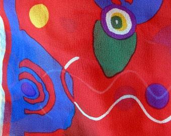 Red Abstract Silk scarf Albert Nipon designer chiffon long