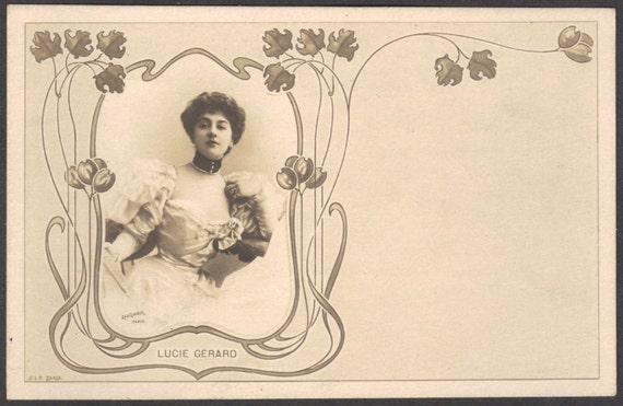 Lucy Gérard, Stage Actress, by Reutlinger, in Art Nouveau Border, circa 1900
