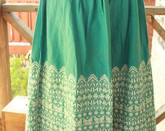 Vintage 50s Guatemalan Embroidered Teal Skirt