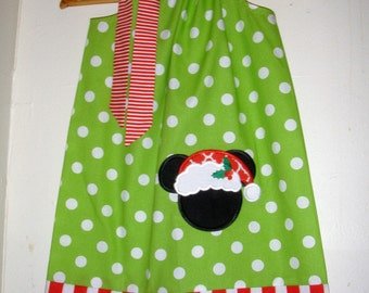 "Christmas Disney ""Minnie Mouse dress""  green dots red pillowcase dress appliqued Disney dress 3,6,9,12,18 months 2t,3t,4t,5t,6,7,8,10,12"