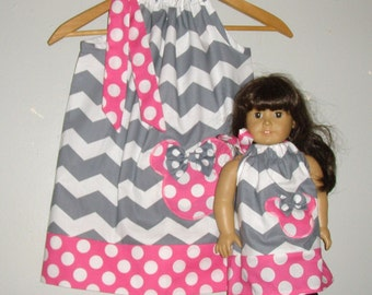 """doll and me  Dress Minnie Mouse dress Grey ALLPINK doll dress 12 month 2t,3t,4t,5t,6,7. 8,10,12 to fit 18"""" Doll"""
