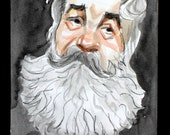 White Bearded Grampa Bear,  in Profile watercolor on cotton paper 8x10 inches by Kenney Mencher