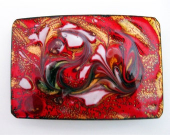 mid century belt buckle laura smith  enamel on copper modernist red