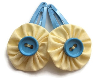 SALE Pastel Yellow and Blue Fabric Hair Clips