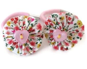 Pink Floral Fabric Yoyo Hair Tie/Ponytail holder/ Hair Band/ Hair Elastic