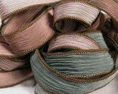 Hand Dyed Silk Ribbon, Hand Painted Silk Ribbon, Crinkle Silk Bracelet, Silk Wrist Wrap, Fairy Ribbon - Celtic Forest