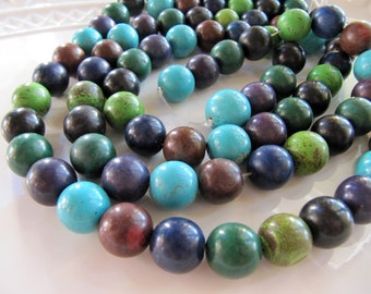 14mm MAGNESITE Beads in Turquoise Blue, Green, Purple and Brown, Round Smooth, 1 Strand 15 Inches, 28 Beads