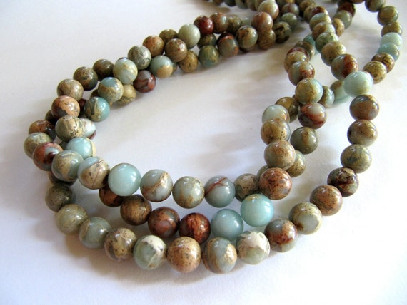 8mm Natural Serpentine Stone Beads in Aqua, Golden Brown, Green and ...