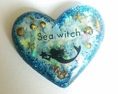 Artistic resin mermaid heart brooch