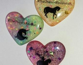 The Unicorn Revolution resin heart brooches
