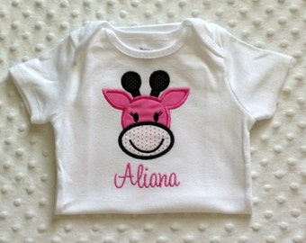 Baby Girl Personalized Bodysuit with Appliqued Giraffe