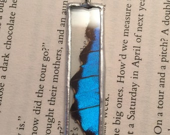 Real Butterfly jewelry, butterfly Wing Necklace, Blue Morpho Pendant