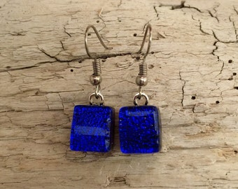 Dichroic glass jewelry, fused glass earrings, handmade dichroic glass, dichroic glass earrings, Dichroic Glass Dangle earrings