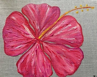 Pink Hibiscus on Gray Linen - 8x10