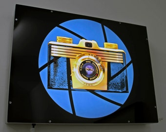 Vintage Camera Art on Light Box - Iloca in blue with aperture graphic